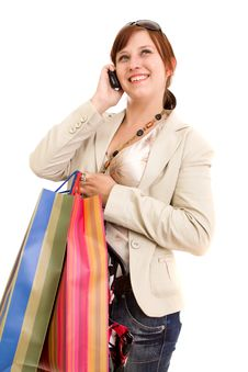 Free Young Woman With Shopping Bags Stock Image - 9838281