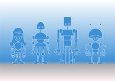 Free Robots Family Royalty Free Stock Images - 9839829