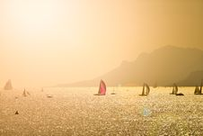 Free Many Sailing Boats At Sunset With Montain Stock Photo - 98351620