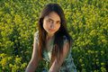 Free Girl On A Yellow Canola Field Stock Photos - 9842653