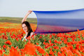 Free Attractive Girl In The Poppy Field Royalty Free Stock Image - 9843626