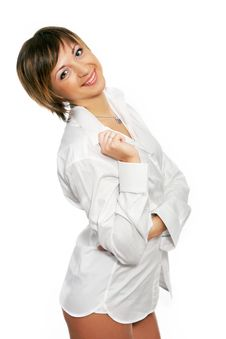 Free Sexy Woman In A White Mans Shirt Stock Photo - 9840160