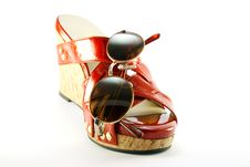 Red Shoe And Sunglasses Royalty Free Stock Image