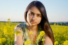 Free Girl On A Yellow Canola Field Stock Photography - 9842322