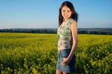 Free Girl On A Yellow Canola Field Royalty Free Stock Image - 9842486