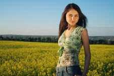 Free Girl On A Yellow Canola Field Stock Photo - 9842590