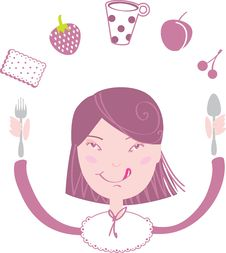 Free Happy Girl Eat Her Lunch Royalty Free Stock Photos - 9842928