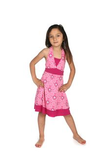 Pretty Mixed Race Girl In Pink Patterned Dress Royalty Free Stock Photography