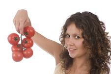 Free Woman With Tomato Royalty Free Stock Photo - 9843115