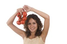 Free Woman With  Tomato. Stock Photography - 9843132