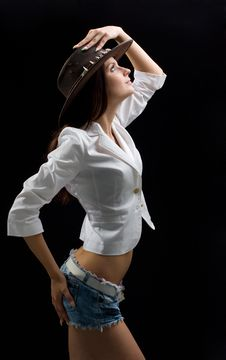Free Beautiful Woman In Shorts And Hat Royalty Free Stock Image - 9843646