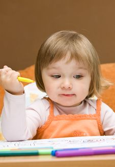 Free Baby Girl Drawing Royalty Free Stock Photos - 9843748
