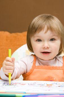 Free Baby Girl Drawing Stock Photos - 9843773