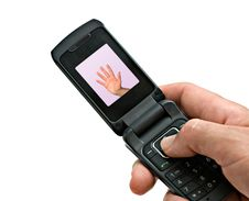 Mobile Phone With Picture Of High Five Gesture Royalty Free Stock Images