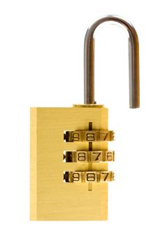 Close-up Combination Padlock Isolated On White Royalty Free Stock Photography