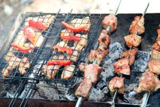 Shish Kebab Roasting On An Open Fire Royalty Free Stock Images