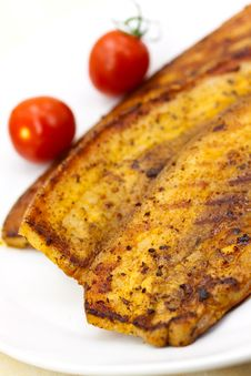 Free Roasted Belly Of Pork With Cherry Tomatoes Royalty Free Stock Photography - 9846097