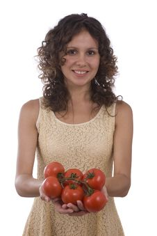 Free Woman With  Tomato. Royalty Free Stock Images - 9846159