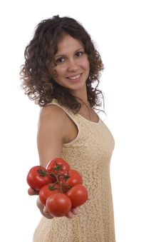 Free Woman With  Tomato Royalty Free Stock Photography - 9846177