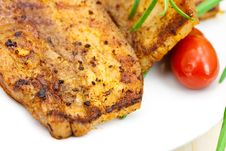 Free Roasted Belly Of Pork With Cherry Tomatoes Royalty Free Stock Photos - 9846178