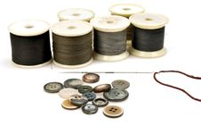 Free Thread Spindles, Buttons And Needle Stock Image - 9847581