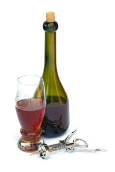 Free Still-life With A Wine Glass And A Bottle Royalty Free Stock Image - 9849306