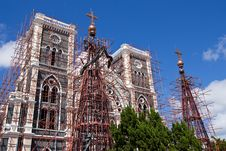 The Repairing Of Biggest Church In Thailand Stock Photography