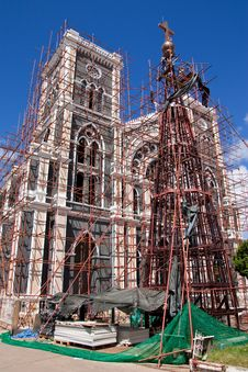 The Repairing Of Biggest Church In Thailand Royalty Free Stock Photo