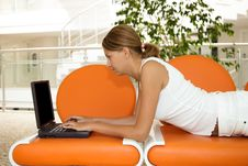 Free Young Woman Working On A Laptop Stock Images - 9851344