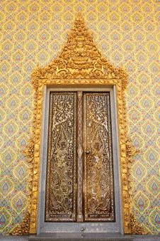 Free Traditional Thai Style Buddhist Church Door Stock Photos - 9851373