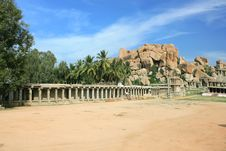 Free Temple In The Barren Landscape Of Hampi Royalty Free Stock Image - 9851556