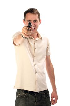 The Person With A Pistol Royalty Free Stock Photo