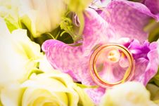 Free Orchid With Gold Wedding Bands Stock Images - 9854244