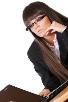 Free Beautiful Brunette Business Girl Working On Her La Royalty Free Stock Photo - 9855525