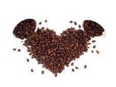 Luck: Heart-shaped Coffee Beans Stock Photo