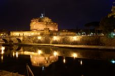 Rome By Night: Castel Sant Angelo Royalty Free Stock Photo