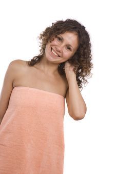 Woman In Bath Towel Royalty Free Stock Images