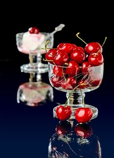 Free Cherry With Icecream Royalty Free Stock Image - 9859036