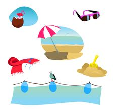 Beach Illustration Set Royalty Free Stock Photography