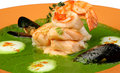 Free Soup From Spinach With Shrimps Fuagra Stock Photos - 9862623