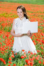 Free Smiling Beautiful Girl With Laptop Stock Images - 9866114