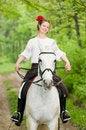 Free Smiling Girl Riding Horse Royalty Free Stock Photos - 9867148