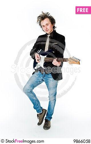 Man playing electro guitar Stock Photo