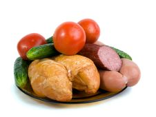 Vegetables,  Hen, Sausages And Sausage Royalty Free Stock Photography