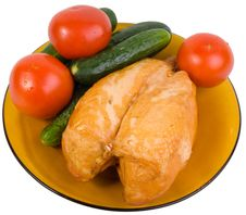 Free Vegetables And Chicken Breast Royalty Free Stock Image - 9860586