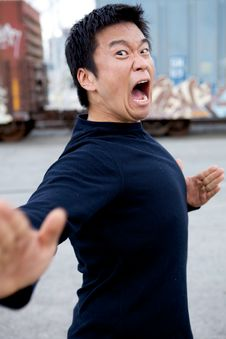 Free Funny Asian Karate Man Stock Photo - 9860660