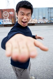 Free Funny Asian Karate Man Stock Images - 9860684