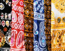 Female Kerchiefs With Traditional Ornament Stock Photos
