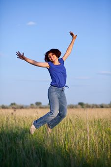 Free Woman Jumping Stock Images - 9861724