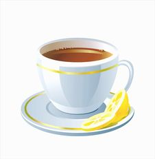Free Vector Cup Of Tea With Lemon Royalty Free Stock Image - 9861916
